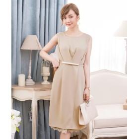 (DRESS STAR/ドレス スター)タック入りパールライン&裾レースパーティードレス/レディース ベージュ