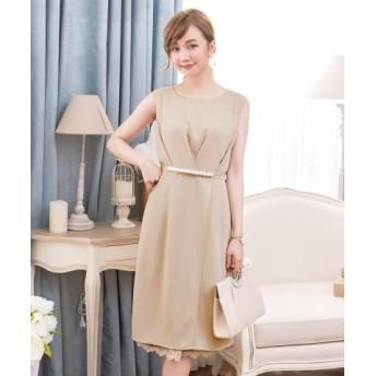 (DRESS STAR/ドレス スター)タック入りパールライン&裾レースパーティードレス/レディース ベージュ 送料無料