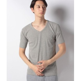 (JEANS MATE/ジーンズメイト)【BLUE STANDARD】リブVネックTシャツ/メンズ モクグレー
