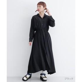 (merlot/メルロー)オープンカラーシャツワンピース/レディース ブラック
