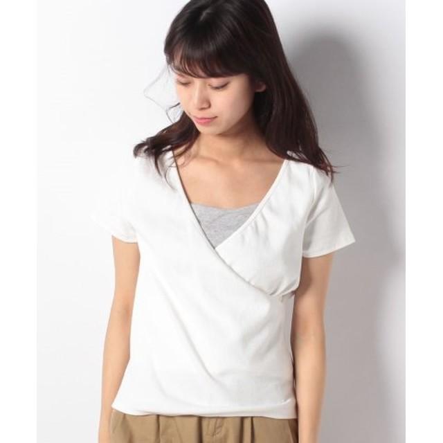 (petit main LIEN/プティマイン リアン)2WAYカシュクールTシャツ/レディース オフホワイト