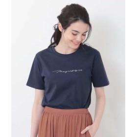 (OFUON/オフオン)ロゴ刺繍Tシャツ/レディース ネイビー