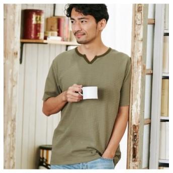 (Men's Bigi/メンズビギ)【SOLATINA(ソラチナ)別注】キーネックジャガードTシャツ/メンズ カーキ 送料無料