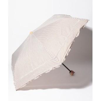 (Afternoon Tea LIVING/アフタヌーンティー・リビング)ストライプフリル晴雨兼用折りたたみ傘 日傘/レディース ベージュ