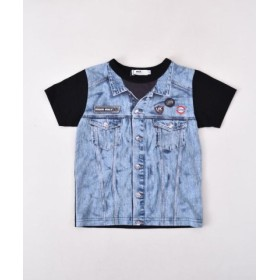 (BEBE ONLINE STORE/べべオンラインストア)天竺ジージャン風プリントTシャツ(110cm~130cm)/レディース ブラック