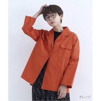 (merlot/メルロー)オープンカラーシャツ2864/レディース オレンジ