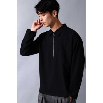 (TORNADO MART/トルネードマート)BLUE TORNADO∴トロワッシャーハーフZIPプルオーバー長袖シャツ/メンズ 黒