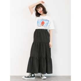 【6,000円(税込)以上のお買物で全国送料無料。】ドット柄ティアードスカート