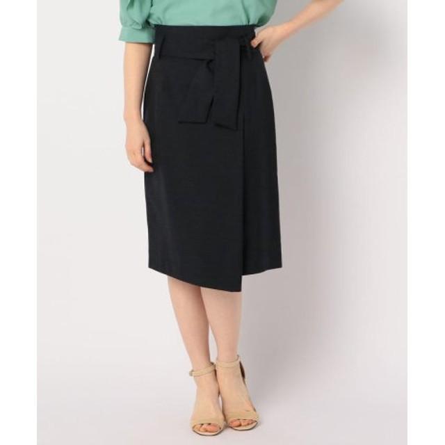 (NOLLEY'S/ノーリーズ)ウエストリボン麻混合繊スカート/レディース ネイビー