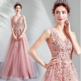 ウエディングドレス ロングドレス 着痩せ Vネック 花柄 二次会 結婚式 披露宴 司会者 舞台衣装 花嫁 写真撮影