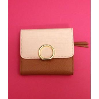 (ninon/ニノン)【牛革】型押しクロコ柄リングモチーフ二つ折り財布/ウォレット/レディース ベージュ
