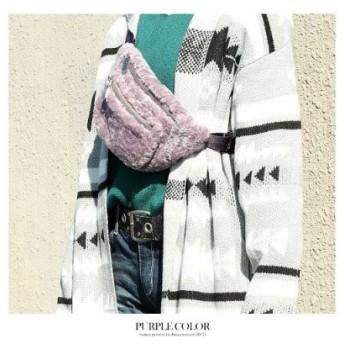 (GROWINGRICH/グローウィングリッチ)[バッグ ベルト 雑貨 小物 アクセサリー]カラーベルトふわもこウエストポーチ[181104]/レディース パープル