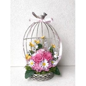 ピンクローズの鳥かごアレンジ♪母の日ピンク薔薇プリザーブドフラワー花ブリザ結婚式誕生日プリザ薔薇プレゼント誕生日バラギフト花器サプライズ結婚祝い退職祝いリボン