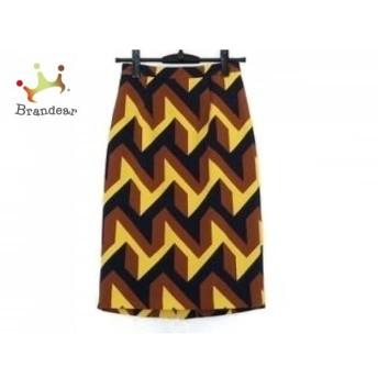 ダイアグラム スカート サイズ36 S レディース 美品 ブラウン×ネイビー×イエロー スペシャル特価 20190811