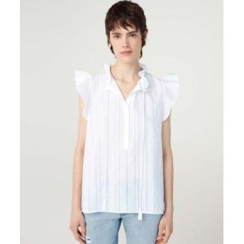 (SISLEY/シスレー)アイレットリボンフリルノースリーブシャツ・ブラウス/レディース オフホワイト