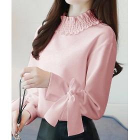 (miniministore/ミニミニストア)波襟 ブラウス OL 袖リボン シャツ ゆったり トップス 可愛い トップス 体型カバー 即納/レディース ピンク