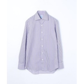 (TOMORROWLAND/トゥモローランド)ERRICO FORMICOLA コットンストライプ ワイドカラー ドレスシャツ/メンズ 76パープル系 送料無料