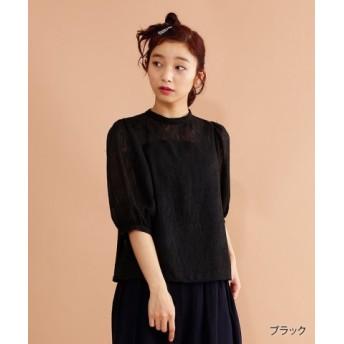 (merlot/メルロー)【plus】ボリュームスリーブ刺繍ネックシアーブラウス/レディース ブラック
