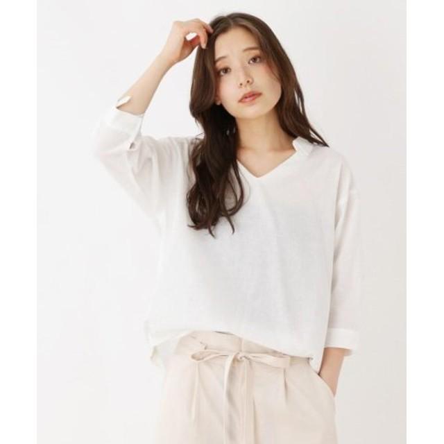(pink adobe/ピンクアドベ)コットンリネン スキッパーシャツ/レディース オフホワイト(003)