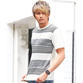 (LUXSTYLE/ラグスタイル)前身ニット使い半袖Tシャツ/Tシャツ サマーニット メンズ 半袖 前身 編み変え ボーダー/メンズ ブラック