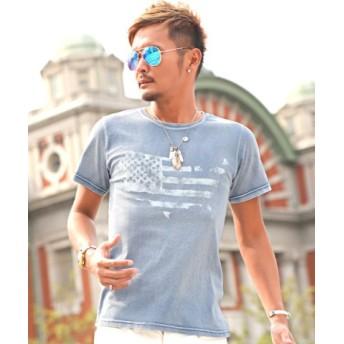 (LUXSTYLE/ラグスタイル)カットデニム星条旗柄プリント半袖Tシャツ/Tシャツ メンズ 半袖 インディゴ スター 星条旗柄 星柄/メンズ サックス