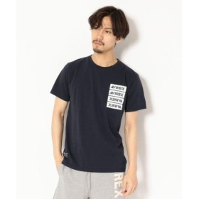 (AVIREX/アヴィレックス)【WEB & DEPOT限定】AVIREX/アヴィレックス/米綿 4連ロゴ Tシャツ/4 REAMS BOX LOGO T-SHIRT/メンズ NAVY