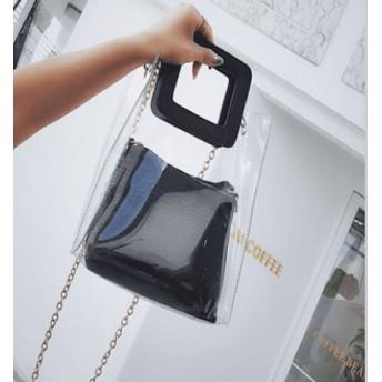 透明 トートバッグ 防水ショルダーバッグ INS話題バック クリアバッグ バッグ女2018年韓国プラスチックの透明なゼリー袋の女性のバッグのシンプルなショルダーバッグ