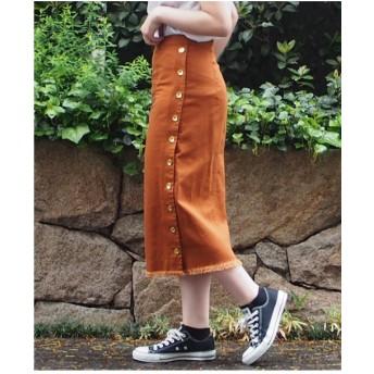 INTERPLANET 綿ツイルタイトスカート(ブラウン)【返品不可商品】