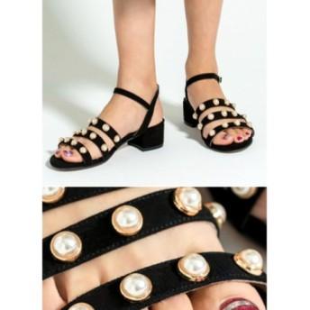 (STYLE DELI/スタイルデリ)【HELIA】01-pearl strap chunky sandals/レディース ブラック 送料無料