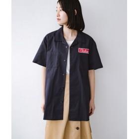 (haco!/ハコ)Dickies TCツイルワッペン付きオープンカラーシャツ/レディース ネイビー