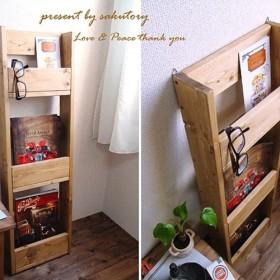 【送料無料】 ブックシェルフ 木製 本棚 ビンテージ風 アンティーク DW
