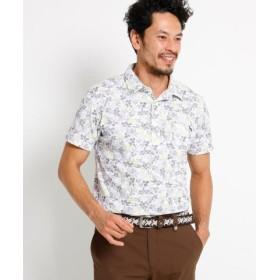 (adabat/アダバット)【吸水速乾】【UVカット】ボタニカル半袖ポロシャツ メンズ/メンズ ホワイト×ブラック(101)