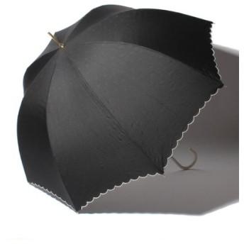 (pink trick/ピンクトリック)雨晴兼用 長傘 (UVカット&軽量) インドット/レディース ブラック×ホワイト