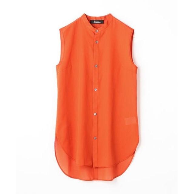 TOMORROWLAND / トゥモローランド Edition コットン バックスリットノースリーブシャツ