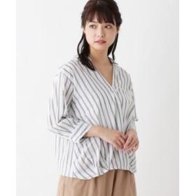 (pink adobe/ピンクアドベ)【コットン100%】カシュクール風スキッパーシャツ/レディース ネイビー(393)