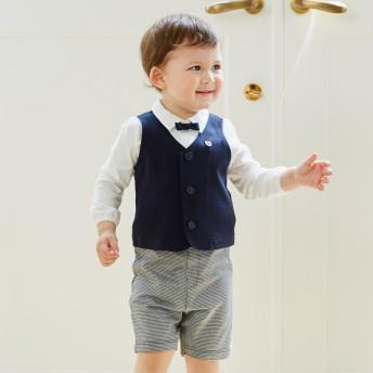 ミキハウス 男の子用ベスト付きベビーフォーマルセット 紺