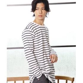 (JIGGYS SHOP/ジギーズショップ)ボーダーロング丈Tシャツ/メンズ ホワイト系1