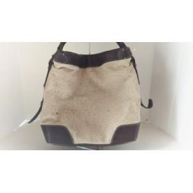 【中古】 ツチヤカバンセイゾウショ 土屋鞄製造所 ハンドバッグ アイボリー ダークブラウン ヘリンボーン
