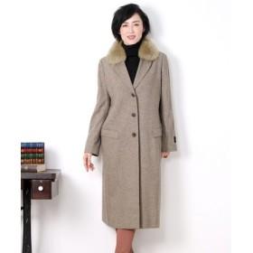 (sankyoshokai/サンキョウショウカイ)カシミヤ 100% コート テーラーカラー ロングコート フォックスファー付き ジャガードカシミヤ/レディース グレージュ