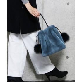 (sankyoshokai/サンキョウショウカイ)ふわふわ レッキスファー 巾着バッグ レディース ハンドバッグ/レディース ブルー