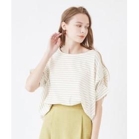(titivate/ティティベイト)デザイン切替カットソーTシャツ/レディース ホワイト/ライトベージュ