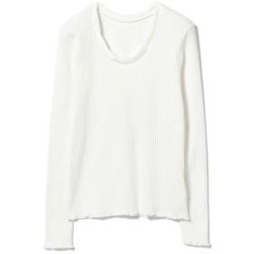 (BEAMS OUTLET/ビームス アウトレット)Ray BEAMS/パターン リブ ツイスト ネックTシャツ/レディース WHITE