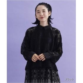 (merlot/メルロー)【TVドラマ着用】ボタニカルレース襟付きブラウス7889/レディース ブラック