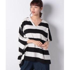 (MELROSE Claire/メルローズ クレール)[Supple Cotton]アシンメトリーデザインVネックTシャツ/レディース ボーダー