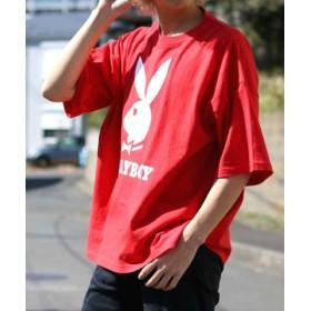 (MARUKAWA/マルカワ)【別注】【PLAYBOY】プレイボーイ ビッグシルエット アイコンロゴ 半袖Tシャツ/メンズ レッド