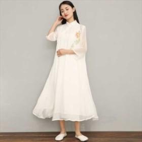 チャイナドレス チャイナワンピ 中国スタイル ロング丈 七分丈 きれいめ FA-860
