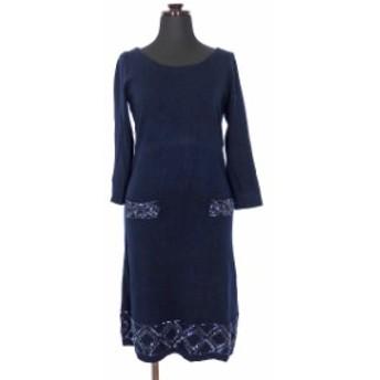 【中古】ビアッジョブルー Viaggio Blu ラウンドネック ニットワンピース チュニック ビーズ装飾 七分袖 2 ネイビー 紺 SSAW