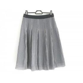 【中古】 ニジュウサンク 23区 スカート サイズ36 S レディース 白 ダークネイビー ブルー
