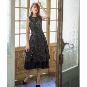 (GIRL/ガール)チュールペチスカート付きフィット&フレア結婚式ワンピース・お呼ばれパーティードレス/レディース ブラック 送料無料