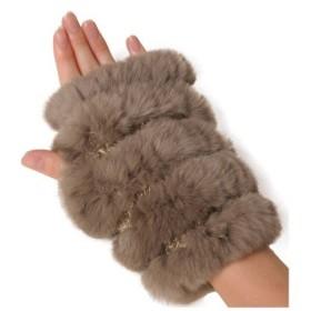(sankyoshokai/サンキョウショウカイ)手袋 指なし ミトン ハンドウォーマー ファー 毛皮 レッキス ニット/レディース モカ